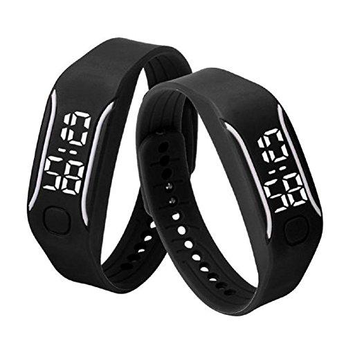 Malltop LED Watch, Unisex Rubber Bracelet Water Resistant Touch Screen White Light Digital Display Sports Wrist Watch