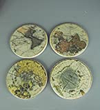 Four Seasons- Set of 4 Round the World Map Coasters in a Vintage distressed theme Grey Green Cream and Brown