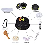 HUKOER Camping Cookware Mess Kit Backpacking Gear & Hiking Outdoors Campfire Cookware Cooking Utensils Ultralight 13 Pieces Cooking set Compact& Durable Pot Pan Bowls - Free Folding Spork, Nylon Bag