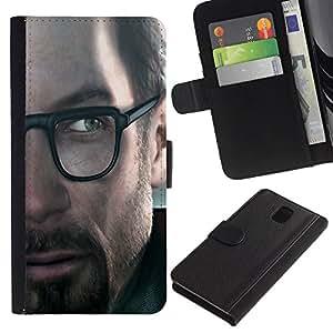 Samsung Galaxy Note 3 III - Dibujo PU billetera de cuero Funda Case Caso de la piel de la bolsa protectora Para (G0Rdon Freeman - Hl Gaming)