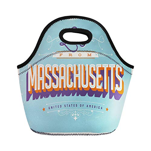 Semtomn Lunch Tote Bag 1940S Vintage Touristic Effects Love From Massachusetts 1950S 1960S Reusable Neoprene Insulated Thermal Outdoor Picnic Lunchbox for Men - Bag Massachusetts
