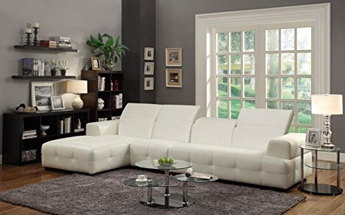 Coaster Home Furnishings 503617 Contemporary Sectional Sofa, White (White Sofa Sectional Furniture)