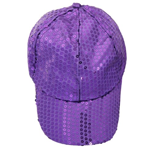 Voberry Women Sequins Shiny Flashy Sunscreen Baseball Hat Ball Cap Adjustable (Purple)