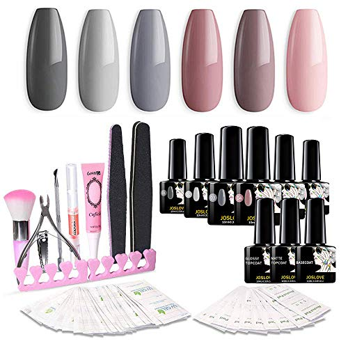 JOSLOVE Nail Polish Nail Gel Nail Art Kit Matte Top Coat Basecoat 6 Colors Gel