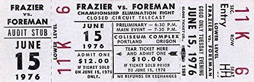 Joe Frazier Autograph (JOE FRAZIER VS. GEORGE FOREMAN TICKET 1976 COLISEUM COMPLEX CLOSED CIRCUIT TV)