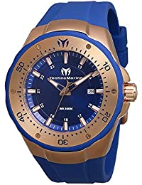 Men's Sea Manta Stainless Steel Quartz Watch with Silicone Strap, Blue, 30 (Model: TM-218021)