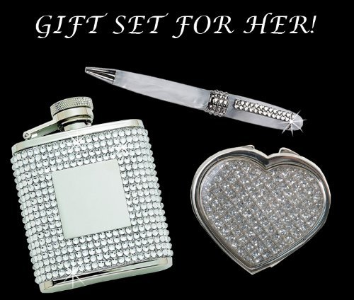 GIFT SET FOR HER! Glitter Galore Heart Compact Mirror and White Pen w/ Crystal and Flask