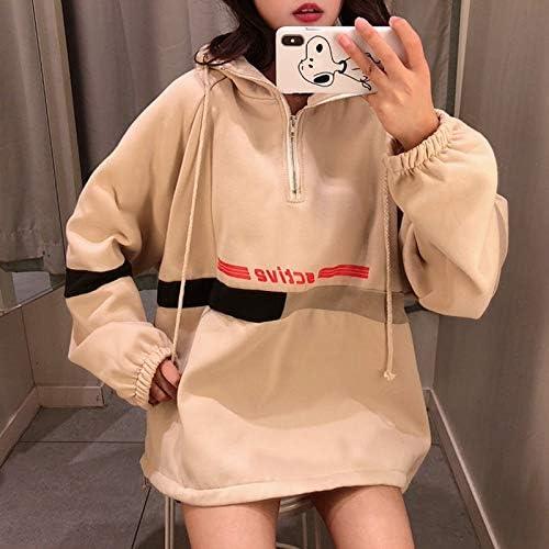 HOVYGB Hooded Loose Letter Print Sweatshirt Beiläufiges Weibliches Sweatshirt Beige