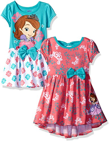 Disney Little Girls' Toddler Sofia the First 2 Pack Dresses, Multi, 3T]()