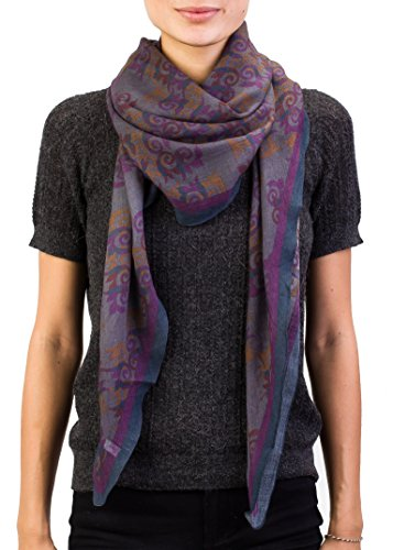Versace Collection Women's Spiral Pattern Wool Scarf Grey - Collection 2014 Versace