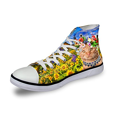 For U Design Kawaii Kattunge Katt Kvinner Canvas Sko Høy Topp Flat Sneaker Cat 5
