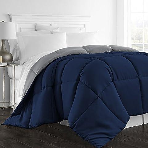 Beckham Hotel Collection Luxury Goose Down Alternative Reversible Comforter - Premium HypoallergenicAll SeasonDuvet - King/Cal King - - Blue Reversible Comforter