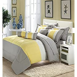 Chic Home Serenity 10 Piece Comforter Set Complete Bed in a Bag Stripe Pattern Bedding with Sheet Set And Decorative Pillows Shams Included, Queen Grey Yellow