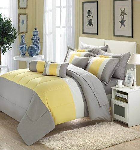 (Chic Home Serenity 10 Piece Comforter Set Complete Bed in a Bag Stripe Pattern Bedding with Sheet Set and Decorative Pillows Shams Included, Queen Grey Yellow)