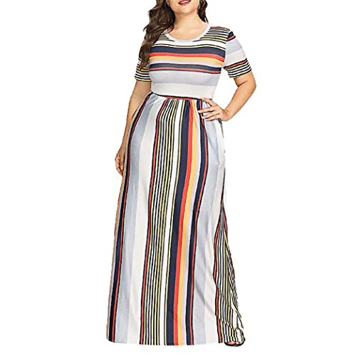 UOFOCO Long Dress for Womens Casual Fashion Plus Size Dress Striped Printed O-Neck Short Sleeve ()