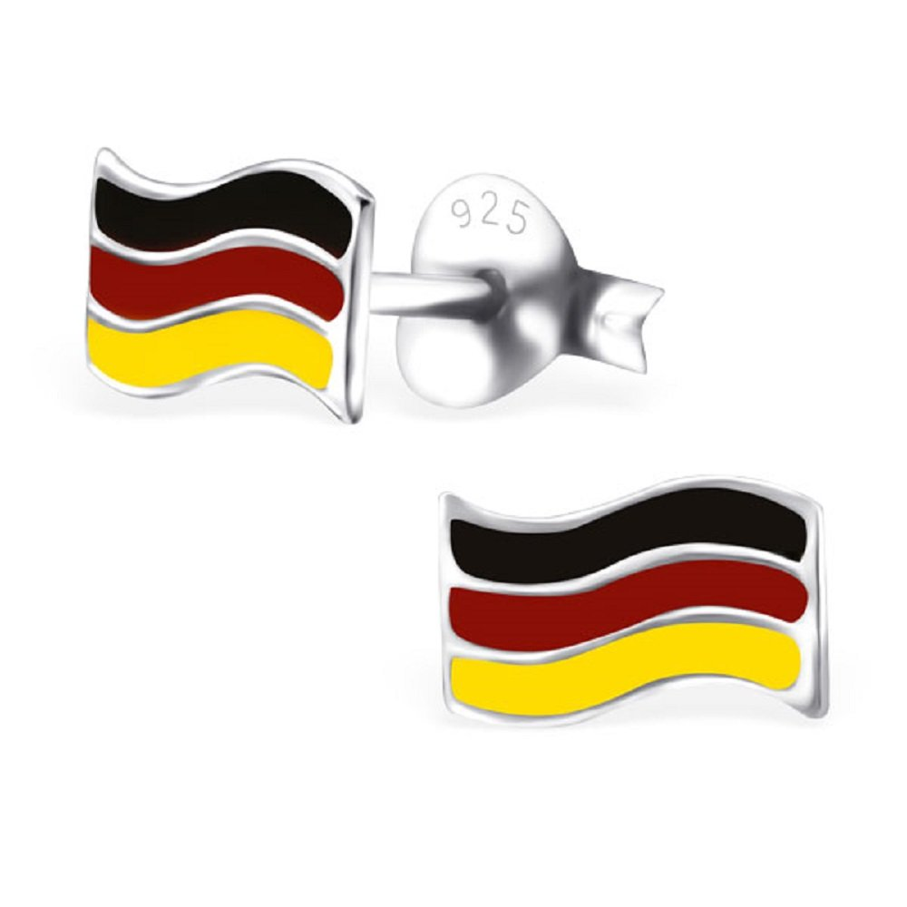 925 Sterling Silver German Flag Stud Earrings 23809