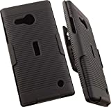 LUMIA 735 CLIP, NAKEDCELLPHONE'S BLACK RIBBED HARD CASE COVER + BELT CLIP HOLSTER WITH STAND FOR MICROSOFT/NOKIA LUMIA 735 730 PHONE (VERIZON/UNLOCKED)