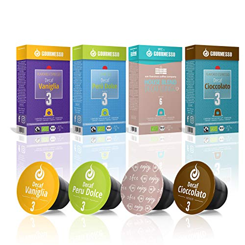 Gourmesso Decaf Bundle - 40 Coffee Capsules Compatible with Nespresso - 100% Fair Trade   Light and Flavored Decaf Espresso and Lungo, Vanilla and Chocolate Espresso Pods Variety Pack