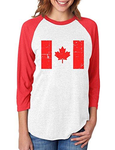 Canada Baseball Jersey - Vintage Canada Flag Retro Style 3/4 Women Sleeve Baseball Jersey Shirt Medium red/White