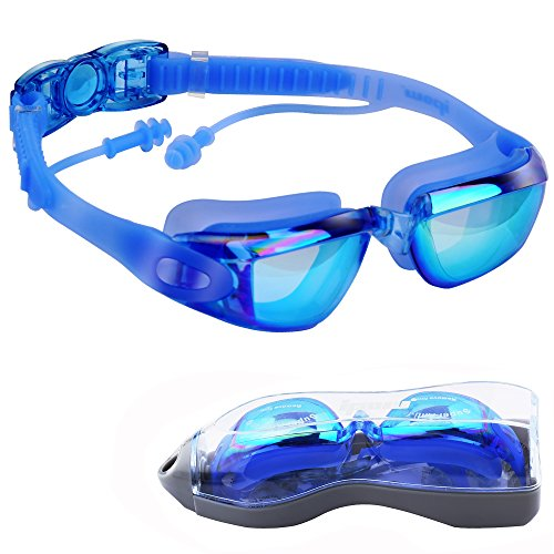 Ipow Mirrored Anti-Fog UV Protection Swim Swimming Goggles/Mask with Silicone Soft Earplugs- Waterproof and focus on Swimming and 3 Pieces Adjustable Nose Bridge Suitable for Different Size of Face + - Nose Bridge Size