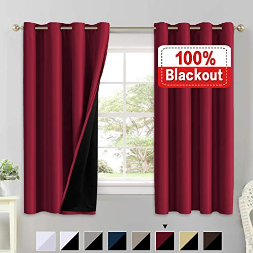 Light Glass Cardinals Night (Full Blackout Curtain Panels (Set of 2) 100% Blakcout Curtains for Bedroom Lined Curtains 63 Inches Long Double Layer Curtains, Thermal Insulated Grommet Window Treatment Panels, Cardinal Red)