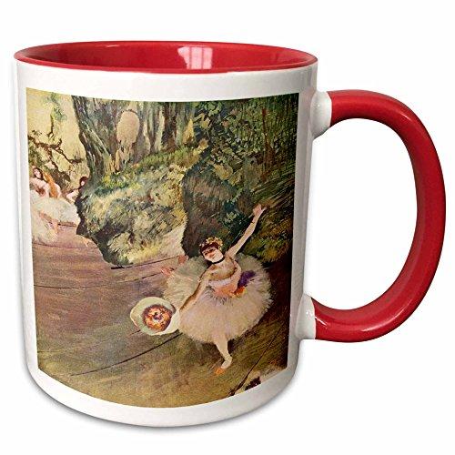 - 3dRose mug_61804_5 Edgar Degas Painting Take a Bow of Ballerinas Ceramic, 11 oz, Red/White
