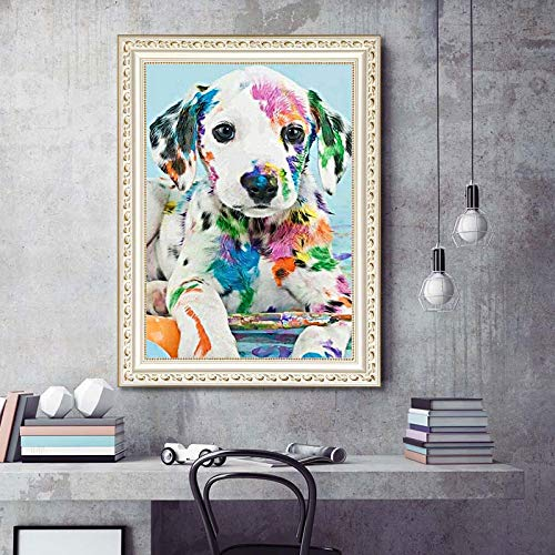 12x16inch 5 DIY Diamond Painting Set Full Drill Square Diamond Painting Colorful Dog Wall Stickers for Living Room