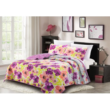Bibb Home 3 Piece Microfiber Printed Quilt Sets - 6 Designs - by BIBB Home
