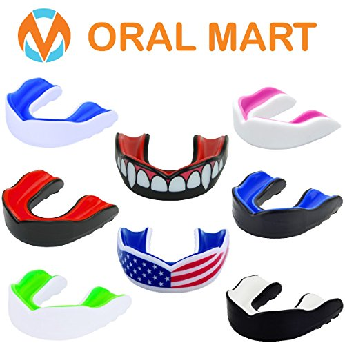 Oral Mart Sports Mouth Guard for Kids/Adults (6 Best Colors/2 Sizes) – CUSHION Adult/Youth Mouthguard for Karate, Flag Football, Martial Arts, Rugby, Boxing, MMA, Sparring, Hockey (/w Vented Case) – DiZiSports Store