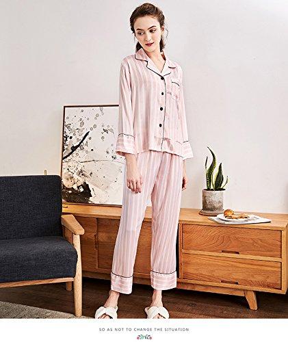 Mon5f Pink Rojas Damas Larga Domicilio Pijamas A Pantalones Size Pink Servicio Home M Traje Primavera Simulación Seda Y Blancas Manga color De rwxUrg0qp