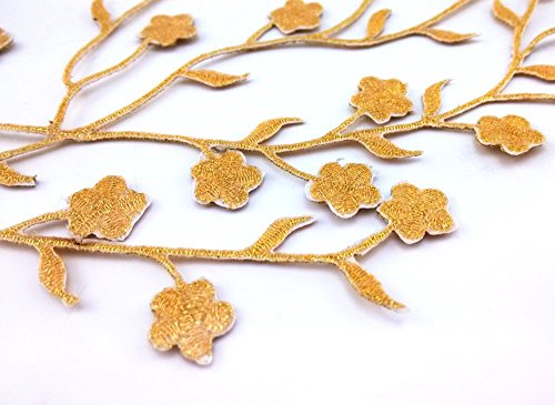 Honbay 2pcs Big and Small Plum Blossom Flower Leaf Vines Iron on Embroidery Applique Patch (Gold)