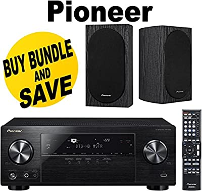 Pioneer VSX-830-K 5.2-Channel AV Receiver with Built-In Bluetooth and Wi-Fi (Black) + Pioneer SP-BS22-LR Andrew Jones Designed Bookshelf Loudspeakers Bundle