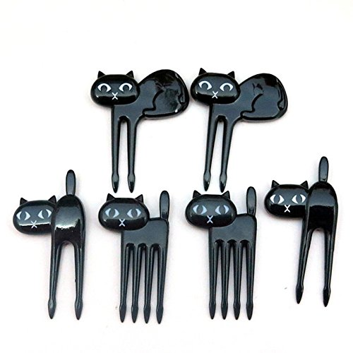 Money coming shop 6pcs/set Black Cat Fruit fork Cute Cartoon Baby Fork Toothpick Gadgets Kitten Dessert Decoration Fork Kitchen (Halloween Entertaining Food Ideas)