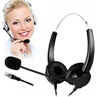 TelPal Coreded Call Center Binaural Headset Noise Cancelling With Mic for Trainer Trainning & Home Workers