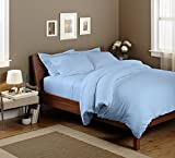 SAO'S SILVALINEN Egyptian cotton Sheet set with 24 '' deep pocket 600TC Solid ( Queen , Light Blue )
