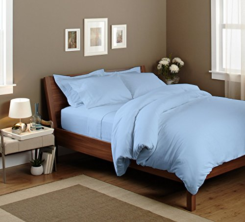 SAO'S SILVALINEN Egyptian cotton Sheet set with 24 '' deep pocket 600TC Solid ( Queen , Light Blue ) by Sao's Silvalinen
