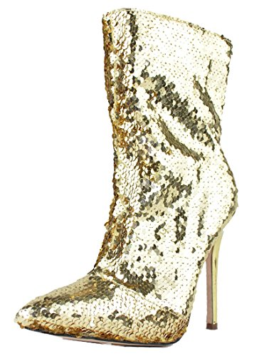 Gold Sequin Boots (Chase & Chloe Women's Mid Calf Stiletto Heel Sequin Bootie (9 B(M) US, Gold))