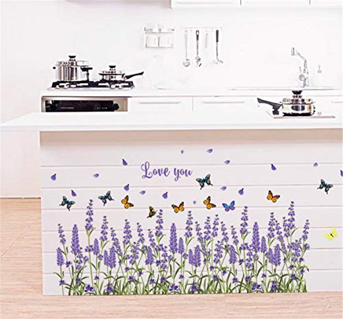 Skyseen Lavender Flower Border Wall Decal Dragonfly Vinyl Stickers for Flooring Angular line Baseboard Window Glass Door Kitchen Cabinet Furniture Decor ()