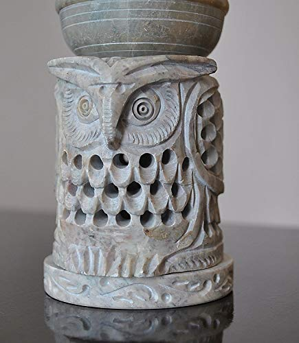Owl Shaped Oil Diffuser with Tea Light Holder Soapstone 4 with Intricate Jaali Lattice Work by StarZebra