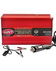 LÍDER.-300W600W Inversor de Corriente Onda sinusoidal con Alarma de batería, convertidor DC 12A a AC220V para Coche con 2 Salidas USB 5V/1.A -2.1A, Nuevo Modelo controlado por Micro procesador