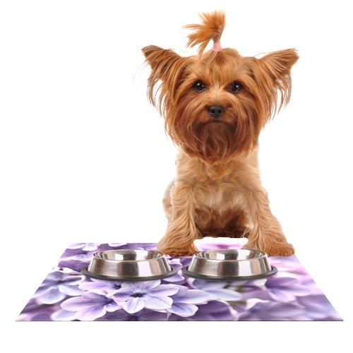 Kess InHouse Sylvia Cook purplec  Purple Flowers Feeding Mat for Pet Bowl, 18 by 13-Inch