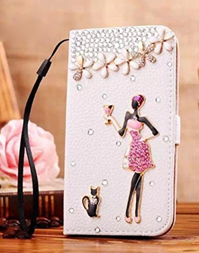 (Losin Wallet Compatible with Apple iPhone 5 / iPhone 5S Premium Wallet Flip Book Style Rhinestone Diamond Lovely Bling 3D Flower Cross Paris Patterns PU Leather Full Protection Stand Case)