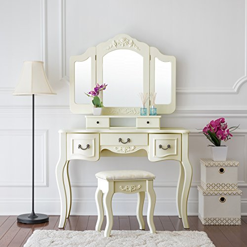 Fineboard Vanity Beauty Station Makeup Table and Wooden Stool 3 Mirrors and 5 Organization Drawers Set, Ivory White (Chic Shabby White Long Mirror)