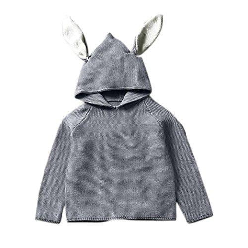 XILALU Boys Girls Sleeveless Cute Long Rabbit Ear Hooded Sweaters Knit Coat