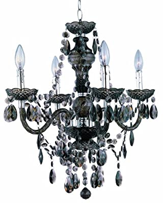 Park Madison Lighting 4-Light Clear Acrylic Chandelier/Ceiling Fixture with Acrylic Prisms and Chrome Accents, 21-3/4-Inch x 23-Inch