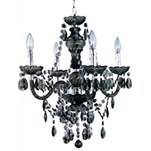 Park Madison Lighting PMC-6604-SM 4-Light Smoked Acrylic Chandelier/Ceiling Fixture with Acrylic Prisms and Chrome Accents, 21 3/4-Inch x 23-Inch