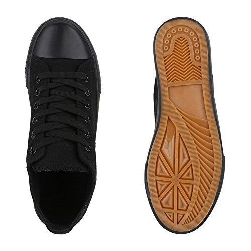 Stiefelparadies Damen Sneakers Glitzer Blumen Sneaker Low Stoffschuhe Denim Animal Prints Canvas Schuhe Übergrößen Flandell Schwarz Schwarz