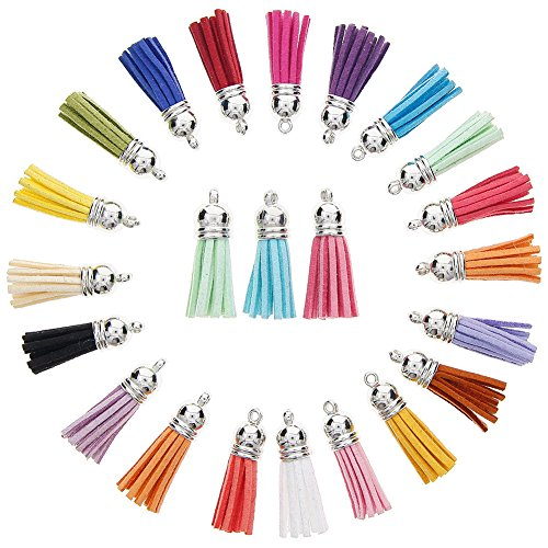 KeyZone 60 Pieces 30 Colors 40 mm Faux Suede Tassel Pendants with Caps for Key Chain Cellphone Straps DIY Accessories