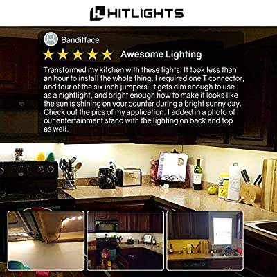 HitLights Cool White LED Light Strip Kit, 16.4 Feet - Includes Power Supply and Dimmer. 300 LEDs, 5000K, 72 Lumens per Foot. 12V DC by HIT International Consulting, LLC
