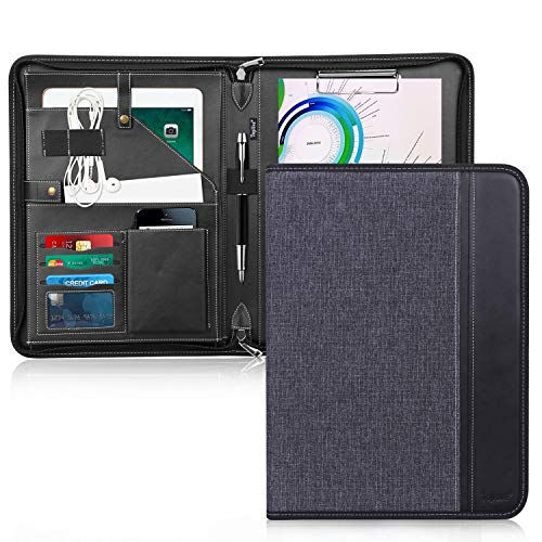 Toplive Zippered Padfolio Portfolio Case,Executive Business Conference Folder Document Organizer with Letter/A4 Size Clipboard, Business Card Holder,Black